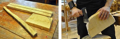 Två bilder: Material till en pall plus formning av sitsen med yxa.