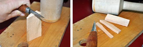 Tvåstegsbild på kniv som spräcker isär en träbit